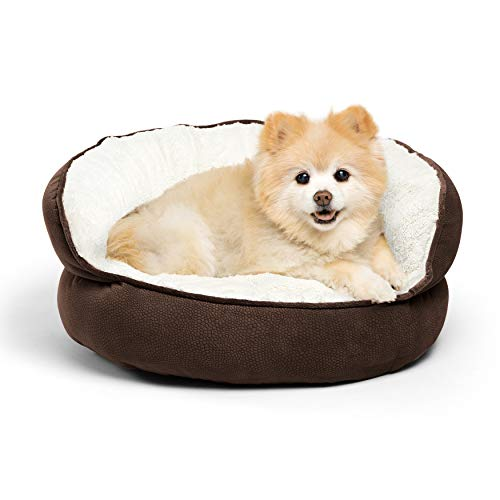 Best Friends by Sheri Pet Throne Round Dog Bed - Orthopedic Cat, Dog, & Puppy Sherpa Cuddler for Small & Medium Pets with High Walls for Security & Comfort, Machine Washable (Mini Size, Dark Brown)