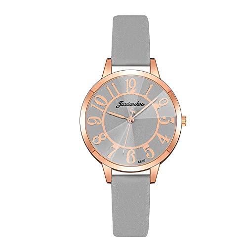 HEling Reloj de cuarzo para mujer minimalista correa de piel redonda reloj de cuarzo casual números árabes movimiento de cuarzo pulsera ajustable esfera redonda reloj, c, talla única,