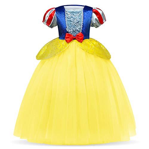 OBEEII Blancanieves Disfraz con Capa Snow White Carnaval Traje de Princesa Cuentos Infantiles para Halloween Navidad Fiesta Ceremonia Aniversario Cosplay Costume para Nias Chicas