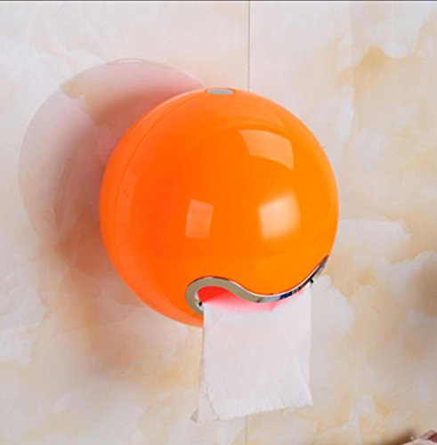 Mehrfache Farben-Plastikrunde kreative wasserdichte Toilettenpapierhalter (sieben Arten der Gesichtsaufkleber + vier Arten Installation) 185 * 185 * 165mm , orange