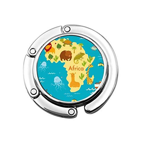 Animals World Map Africa Vector Illustration Table Hanger Hook Hanger for Purse Unique Designs Folding Section Storage Bag Hanger Table Hook