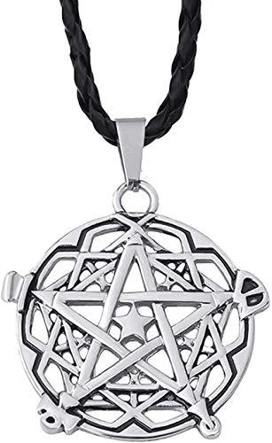 Ahuyongqing Co.,ltd Colgante de Peltre de Pentagrama de Plata para Hombre con 24 Joyas de Collar de Gargantilla
