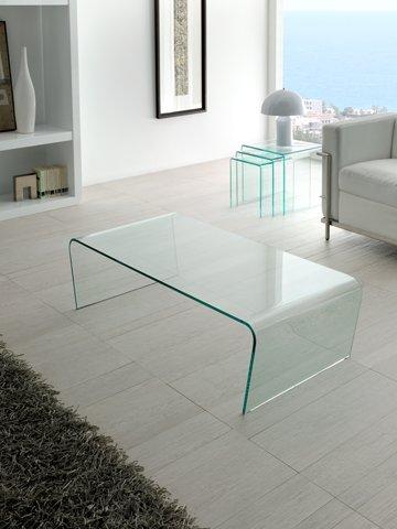 Dugar Home - Mueble Auxiliar - Mesas de Centro Modernas - Cristal Rectangular CT-205