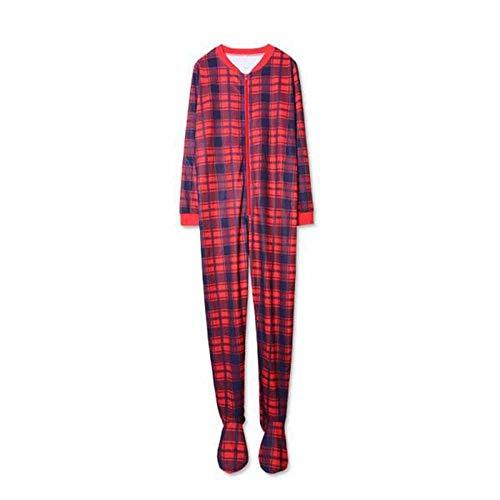 huateng Karierte Nachtwäsche Einteilige Nachtwäsche Familie Passende Onesies Pyjamas Erwachsene Kinder Pyjamas