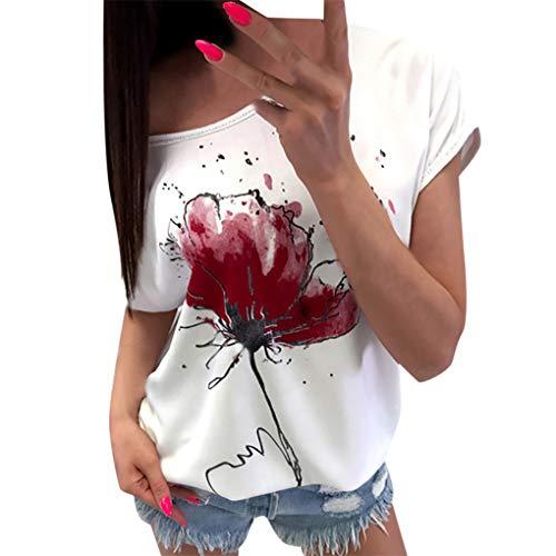 T-Shirt Oberteile für Damen,Dorical Frauen Kurzarm Blumen Pumps Gedruckt Tops Strand Beiläufige Lose Bluse Top T-Shirt lose Tee 80% (EU-42/CN-XL, Z2-Weinrot)