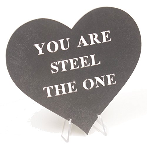 JustPaperRoses Valentines Mothers or 11th Wedding Anniversary You are Steel The One Laser Cut Steel Heart