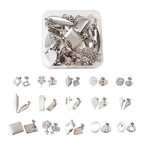 Beadthoven 30 pendientes de acero inoxidable 304 con lazo, 15 estilos, planos, redondos, hojas de flores, pendientes de gota para joyas, colgantes