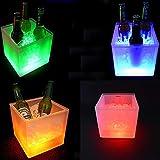 Gdrasuya10 LED Ice Bucket, 16 Color Changing Ice Bucket LED Wine Cooler Beer Beverage Bottle Holder Party