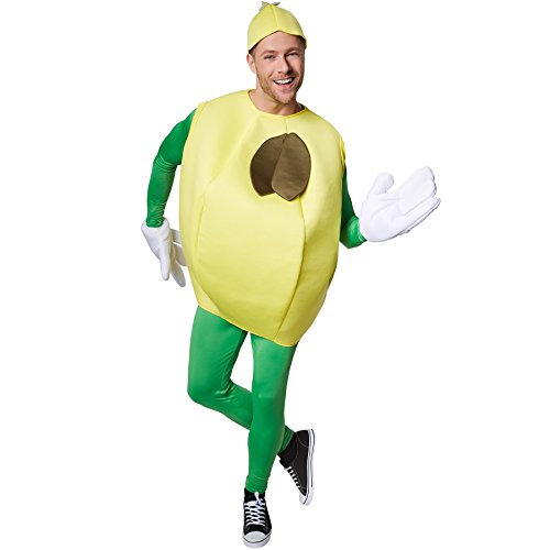 TecTake dressforfun Disfraz de limón Unisexo | Parte Superior afrutada sin Mangas | Manoplas Grandes y Divertidas | Incl. Gorro (L | Nr. 301638)