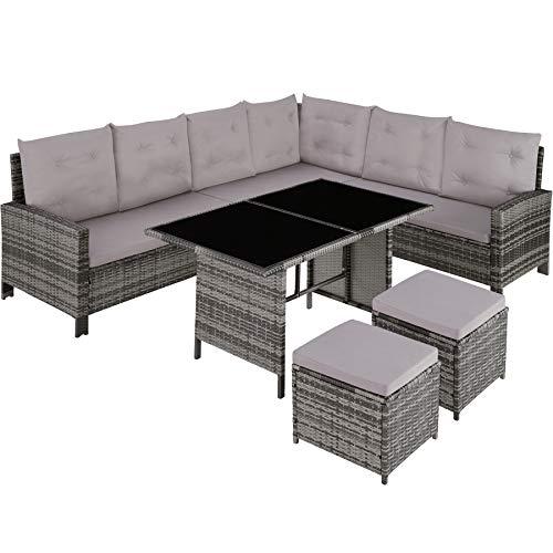 TecTake 800824 Conjunto de ratán, Sofá de Esquina para jardín, Mueble de Exterior para terraza con Mesa y Cojines (Gris)