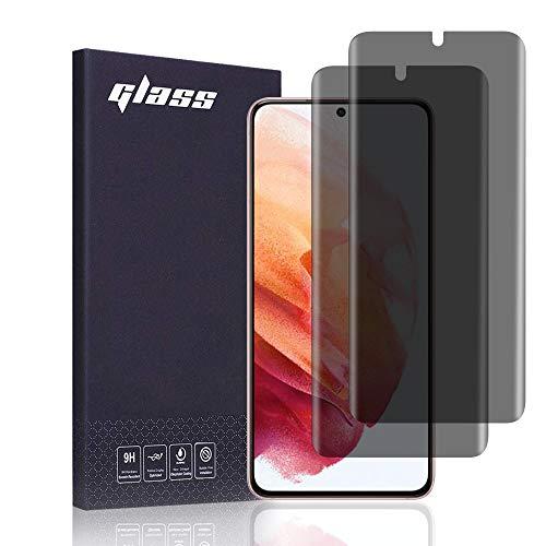 FiiMoo Protector de Pantalla Privacidad Compatible con Samsung Galaxy S21 5G,[2 Piezas] [Reconocimiento de huellas dactilares][Cobertura total] Privacy Anti Espía Protector de Pantalla para Galaxy S21