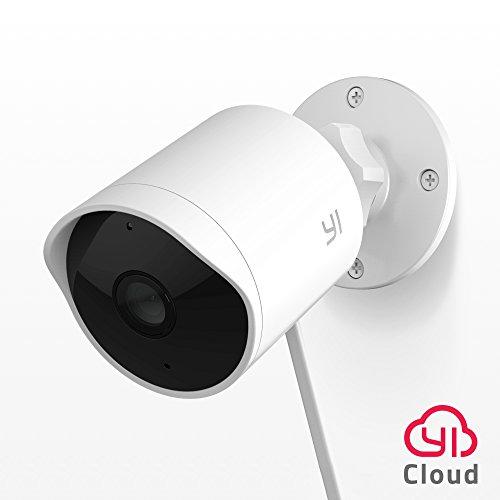 Yi Telecamera per Esterno 1080P, Telecamera di sicurezza/sorveglianza esterna impermeabile con visione notturna, controllo vocale e Servizio Cloud disponibile-Bianco