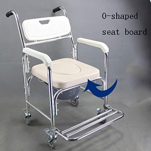 TRB Douchetoiletrolstoel Medical Transport wieltjes stoel waterdicht, 3-in-1 multifunctionele aluminium badkamerstoel met gevoerde zitting, gewicht 300 lbs