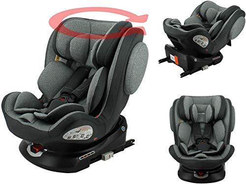 nania Silla de Auto isofix ENO 360° Grupo 0/1/2/3 (0-36 kg) con protección Lateral, reductores de bebés, Vuelta a la Carretera 0-18kg (Gris)