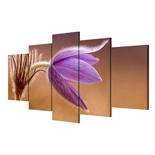 XY-QXZB Quadri di tela di fiori moderni Fiori della parete 5 parti / set Pittura nordica della decorazione della stanza da soggiorno della casa , With Borders , SizeB