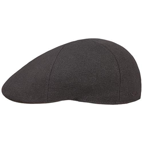 Stetson Texas Canvas Flatcap Schirmmütze Schiebermütze Sonnencap Baumwollcap Herren - mit Schirm Frühling-Sommer - XL (60-61 cm) schwarz
