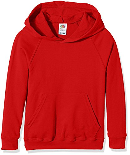 Fruit of the Loom Ss056b, Sweat-Shirt à Capuche Garçon, Rouge (Red), 12 ans