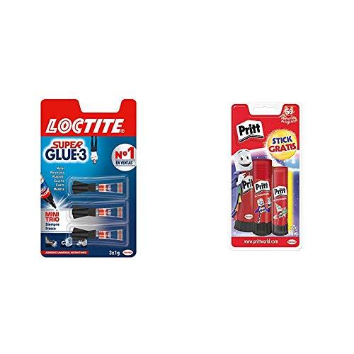 Loctite Super Glue-3 Original Mini Trio, pegamento universal con triple resistencia, adhesivo transparente + Pritt Barra...