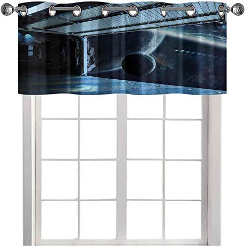 Cenefa de cortina aislada, diseño de robots humanoides de Moon Before Station, Planet Apocalypse, 36 pulgadas de ancho x 18 pulgadas de largo, cortinas opacas para sala de estar, azul marino