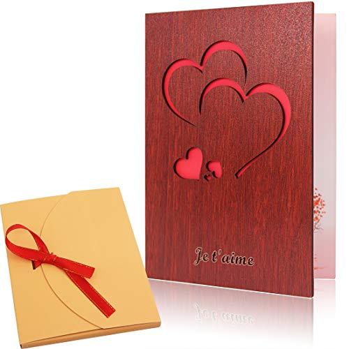 Creawoo - Tarjeta de felicitación de amor, artesanal, de madera de nogal roja con caja de tarjeta especial, regalo único para cumpleaños y San Valentín