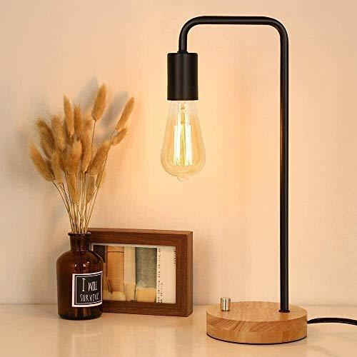 VIWIV Lámpara de Noche Lámpara de Mesa Industrial, lámpara de mesas de Noche lámpara de Escritorio de Madera de Madera lámpara de Noche Vintage para Sala de Estar Dormitorio