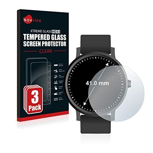 savvies Pellicola Vetro Temperato Compatibile con Orologi (Circolare, Diametro: 41 mm) (3 Pezzi) Protezione Protettivo Schermo Glass Durezza 9H