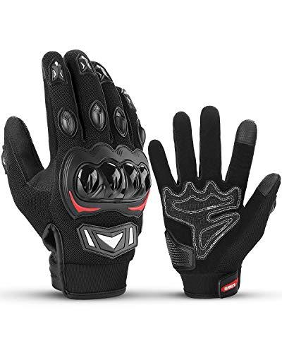 ISSYZONE Motorradhandschuhe, Touchscreen Sport Handschuhe mit Vollfinger, Hartknöchelschutz, Amtungsaktive Sommerhandschuhe für Motorradfahren, Camping, Roller und andere Sportarten (Schwarz, XL)