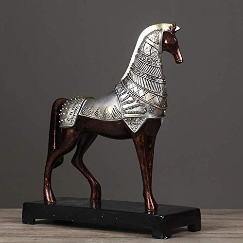 Wghz Horse Art Ornaments,Christmas Arts Crafts Elegant Resin Sculpture Statue Desktop Decor Figurine Animal Hand Painted Home Office Decoration-a 31x12x36cm(12x5x14inch)