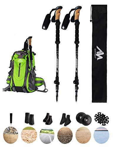 ayamaya Trekking Poles Lightweight Aluminum 7075 Hiking Walking Sticks, Adjustable Collapsible Shock Absorbing Quick & Twist Lock Trecking Pole with Cork Grip Christmas Outdoor Gifts for Men Women