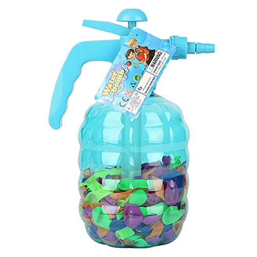 Water Balloon Pump with 500 Balloons Included - 3 in 1 Air and Water Balloon Filler Super Easy to Use for Summer Days - Water Balloon Inflator That Works Fast (Light blue)