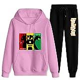 DIYOOD Adult Ne-koma Fuku-rodaniTracksuit Sets Hoodies Sweatsuit Sweatpants Mans Womans 2 Piece Sport Outfits Jogger Suit Women-L/Men-M Pink and Black