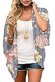 Joligiao Cárdigan Kimonos Mujer Chiffon Abrigo Chaqueta de Gasa Blusa Floral Suelta Playa Chal Vacaciones Beachwear Boho Blusa Casual Encubrir Manga murciélago Mantón,Gris + Flor Grande,S