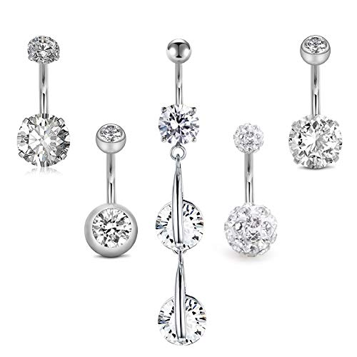 MODRSA Belly Button Rings Surgical Steel 14G CZ Diamond Belly Ring for Women 3/8' 10mm Belly Button Piercing Jewelry Navel Rings Silver