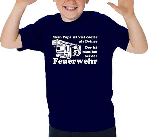 feuer1 T-shirt pour enfant Navy, Mein Papa est beaucoup plus cool que votre 9-10 ans bleu marine