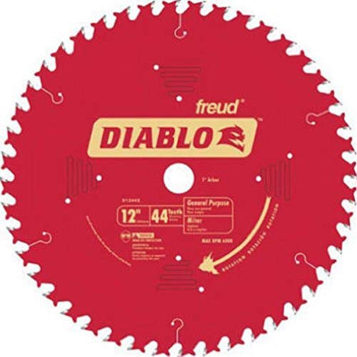 Freud D1244X Diablo 12' 44 Tooth ATB General Purpose Miter Saw Blade 1'...