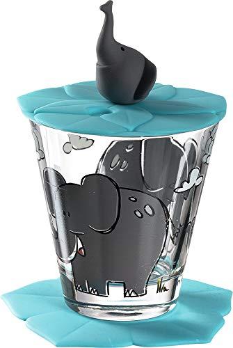Leonardo Bambini Kinder-Glas 1 Stück, Glas-Becher mit Tier-Motiv Elefant, Deckel Untersetzer BPA-frei, spülmaschinengeeignet, 3-teilig 215 ml 034796