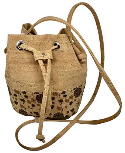 Kleine kurk Bucket Bag schoudertas tas schoudertas emmertas kurk handtas met trekkoord voor vrouwen en jongeren