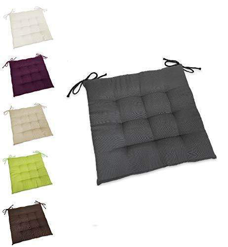 wometo Sitzkissen Stuhlkissen Sitzpolster Stella 40x40 cm - grau dunkelgrau Sitzauflage Auflage für Haus und Garten Polster Kordelbänder für sicheren Halt gemütlich