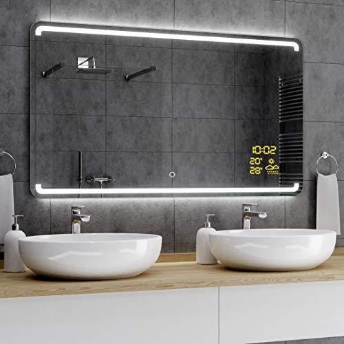 Alasta® Badkamerspiegel met LED-Verlichting - 60x80 cm - Model Milán - Spiegel met Aanraaklichtschakelaar en Weerstation P1