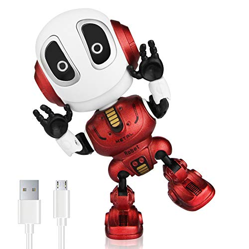 Betheaces Robots for Kids Rechargeable Talking Robot Interactive Toy Repeats Your Voice Travel Toys with Portable Metal Body and Flashing Lights Robot Gifts for Boys and Girls (Fire Red)