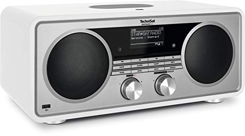 TechniSat DIGITRADIO 601 - Stereo Internetradio (DAB+, UKW, Subwoofer, Fernbedienung, CD-Player, USB, Bluetooth-Audiostreaming, AUX, WLAN, Radiowecker, Wireless Charging, Amazon Alexa) weiß