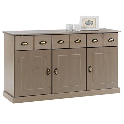IDIMEX Buffet Paris Commode bahut vaisselier avec 3 Portes battantes et 3 tiroirs pin Massif lasuré Taupe