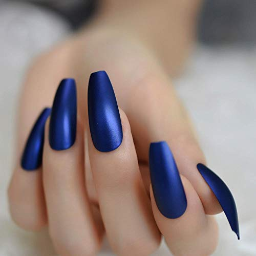 TJJF Professional Dark Royal Blue Coffin Nails Extra Long Matte Press On Ballerina False Nails Frosted Sharp Fake Fingers Party Nails
