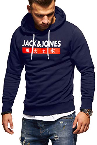 JACK & JONES Herren Hoodie Kapuzenpullover Sweatshirt Pullover Streetwear 4 Elements (X-Large, Total Eclipse)
