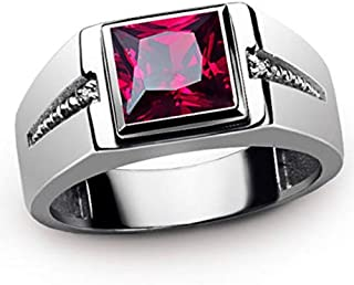 moahhally Newest Stylish 18K White Gold Filled Ruby Sapphire,Topaz,Emerald Men's Wedding Ring Size :7-15(10,Red)