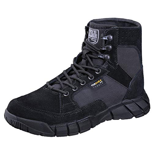 FREE SOLDIER Men's Tactical Boots 6 Inches Summer Lightweight Breathable Desert Boots with Thin Durable Fabric(Black, 7 US)