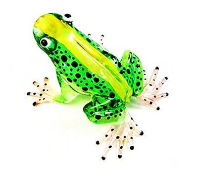 Lampwork COLLECTIBLE MINIATURE HAND BLOWN Art GLASS New Frog, Green FIGURINE by ChangThai Design