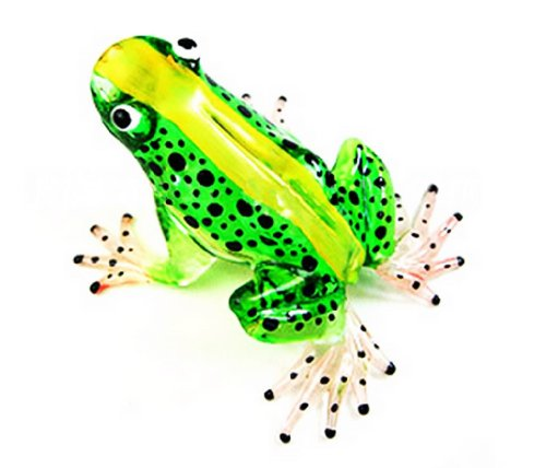 Nouvelle grenouille, FIGURINE verte en verre Murano COLLECTIBLE MINIATURE main soufflé Art