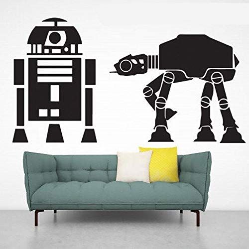 YuanMinglu Planet Thema Wandtattoo Roboter Vinyl Künstler Dekoration schwarz 78x42cm