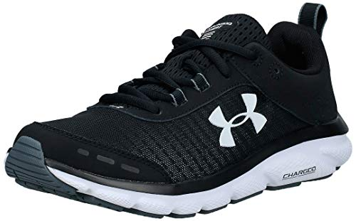 Under Armour womens Charged Assert 8 Running Shoe, Black/White, 7.5 US